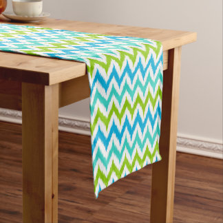 White, Turquoise, Green and Blue Zigzag Ikat Short Table Runner