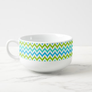 White, Turquoise, Green and Blue Zigzag Ikat Soup Bowl With Handle