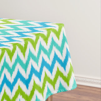 White, Turquoise, Green and Blue Zigzag Ikat Tablecloth