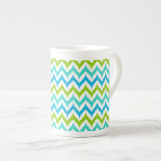 White, Turquoise, Green and Blue Zigzag Ikat Tea Cup