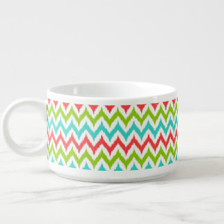 White, Turquoise, Green and Coral Zigzag Ikat Bowl