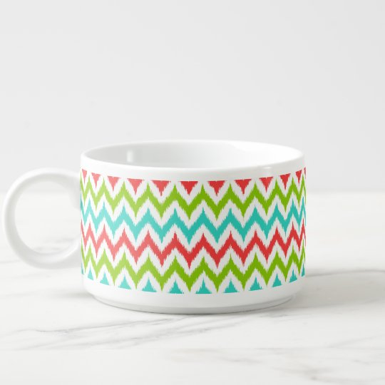 White, Turquoise, Green and Coral Zigzag Ikat Chili Bowl