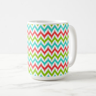 White, Turquoise, Green and Coral Zigzag Ikat Coffee Mug