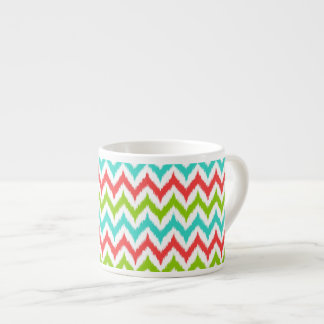 White, Turquoise, Green and Coral Zigzag Ikat Espresso Cup