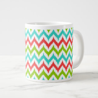 White, Turquoise, Green and Coral Zigzag Ikat Large Coffee Mug