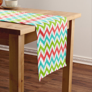 White, Turquoise, Green and Coral Zigzag Ikat Short Table Runner