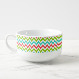 White, Turquoise, Green and Coral Zigzag Ikat Soup Mug