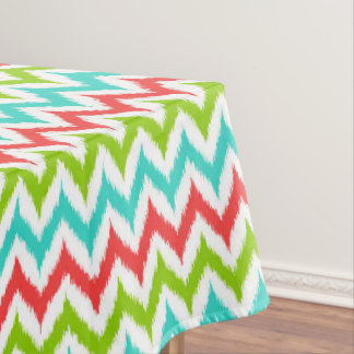 White, Turquoise, Green and Coral Zigzag Ikat Tablecloth