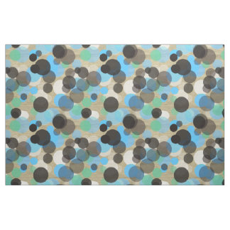 White Turquoise Mint Polka Dots Pattern Faux Wood Fabric