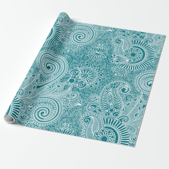 White & Turquoise Vintage Floral Paisley