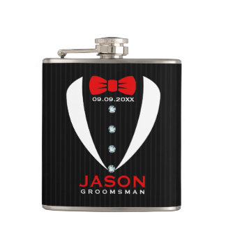 White Tuxedo Red BowTie & Groomsman Text Hip Flask