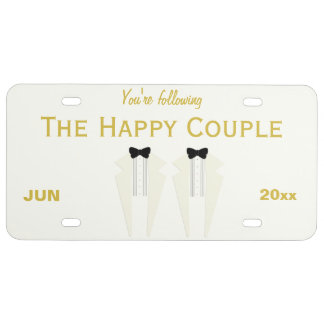 White Tuxedo Wedding License Plate, Happy Couple License Plate