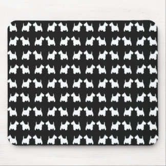 White Twin Scottie Dogs Silhouette Tiled Pattern Mouse Pad