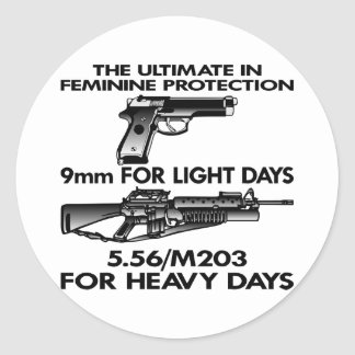 White Ultimate Feminine Protection Classic Round Sticker