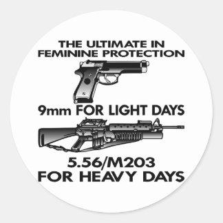 White Ultimate Feminine Protection Classic Round Sticker