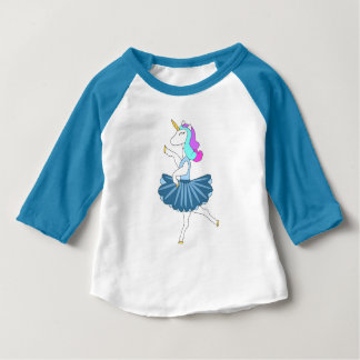 White unicorn blue ballerina dance baby t-shirt