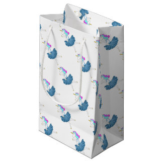 White unicorn blue ballerina dance gift bag