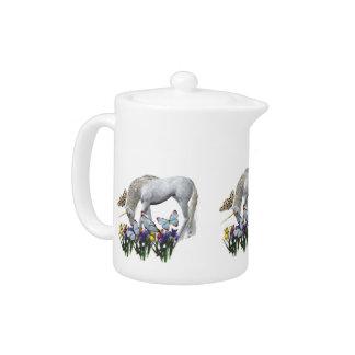 White Unicorn Blue Butterflies Cute Teapots