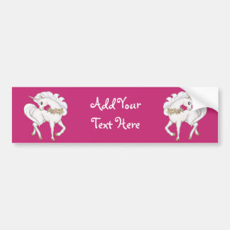White Unicorn Bumper Sticker