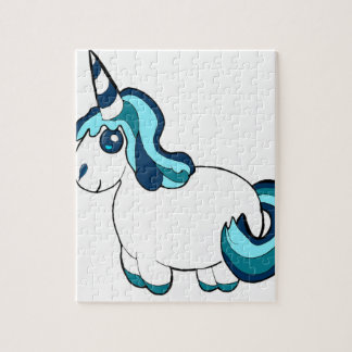 White Unicorn Cartoon Jigsaw Puzzle