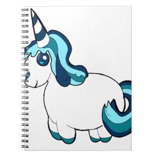 White Unicorn Cartoon Spiral Notebook
