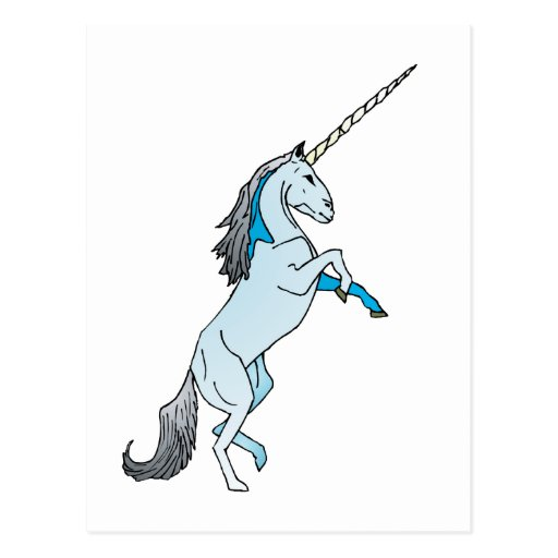 White Unicorn Postcard