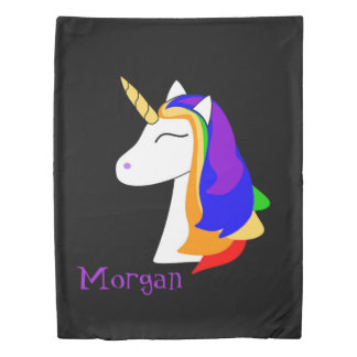 White unicorn rainbow hair black duvet cover