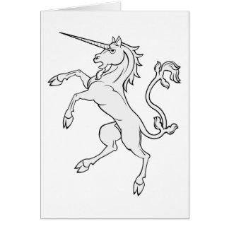 White Unicorn Rearing/Standing Greeting Card