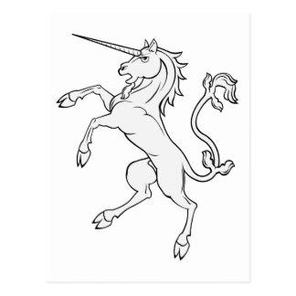 White Unicorn Rearing/Standing Postcard