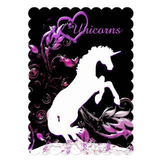 """White Unicorn V (Coloful Splash) 5"""" X 7"""" Invitation Card"""