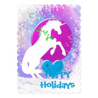 """White Unicorn V Holiday (Colorful Haze) 5"""" X 7"""" Invitation Card"""