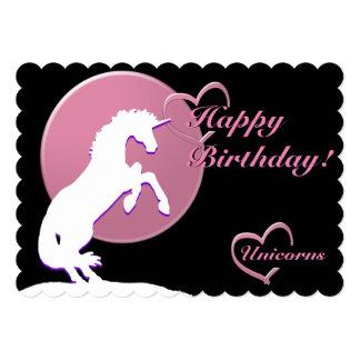 """White Unicorn V (Pink) 5"""" X 7"""" Invitation Card"""