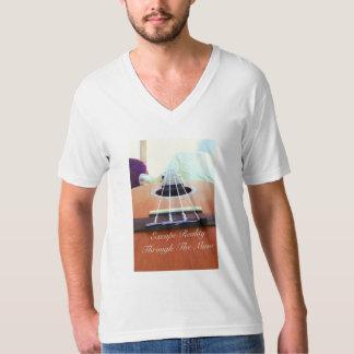 White V-Neck Music T-Shirt