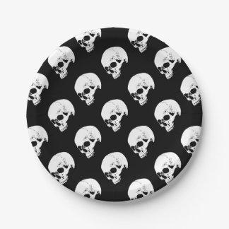 White Vampire Skull Paper Plate