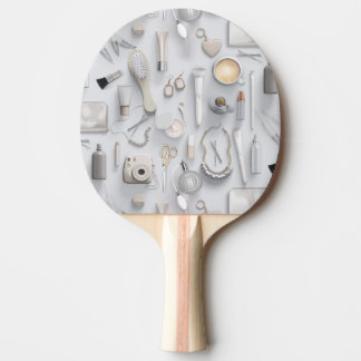 White Vanity Table Ping Pong Paddle