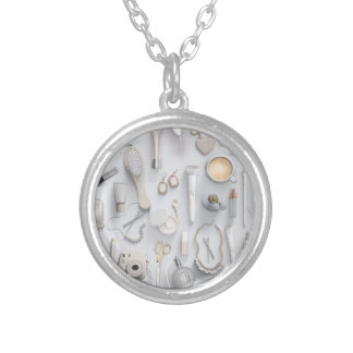 White Vanity Table Silver Plated Necklace