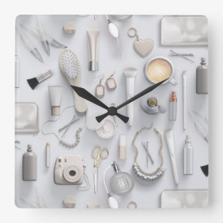 White Vanity Table Wall Clock