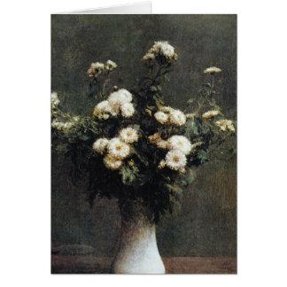 white Vase of Chrysanthemums, Henri Fantin Latour Card