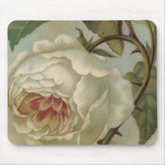 White Victorian Rose Mousepad