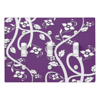White Vine, Leaf, and Floral Design Light Switch Cover