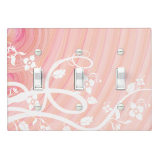 White Vines and Flowers Over Pink Spirals Light Switch Cover