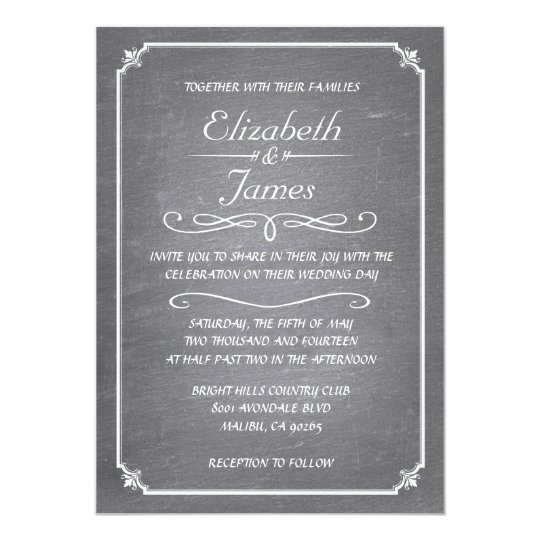 White Vintage Chalkboard Wedding Invitations