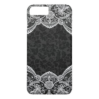 White Vintage Floral Lace Black Damasks 2 iPhone 8 Plus/7 Plus Case