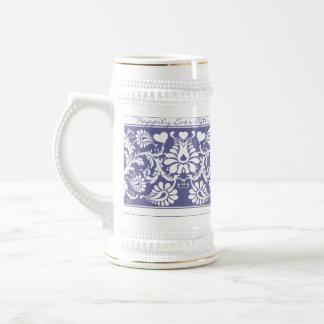 White Vintage Floral Wedding Favors Coffee Mugs