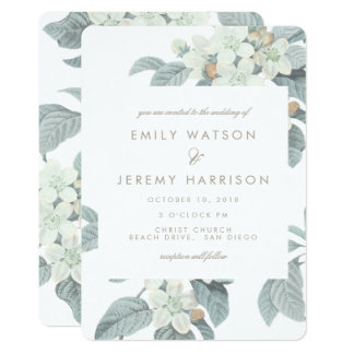 White Vintage Flower Blossoms Wedding Invitation
