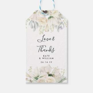 WHITE VINTAGE FLOWERS | Wedding Favour Gift Tags
