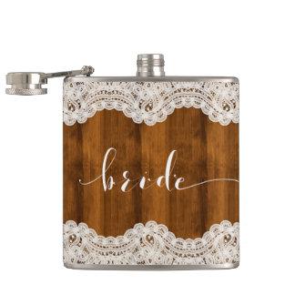 White Vintage Lace Brown Wood Bride Typography Flasks