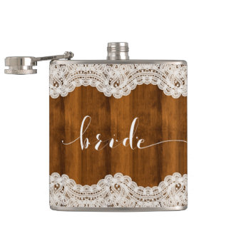 White Vintage Lace Brown Wood Bride Typography Hip Flask