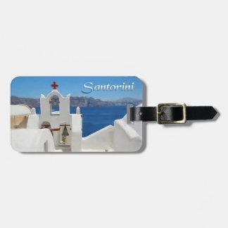 White Washed Church Blue SkY & Sea TEXT Santorini Luggage Tag
