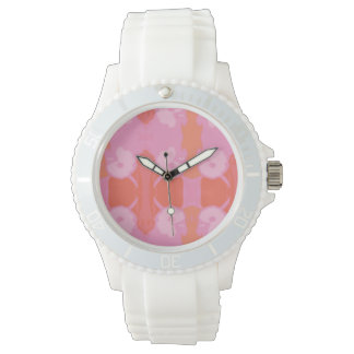 White watch with cockatoo pink, peach design
